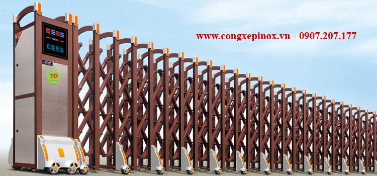Cửa cổng xếp hợp kim nhôm THP-018