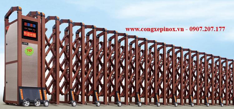 Cửa cổng xếp điện THP-026