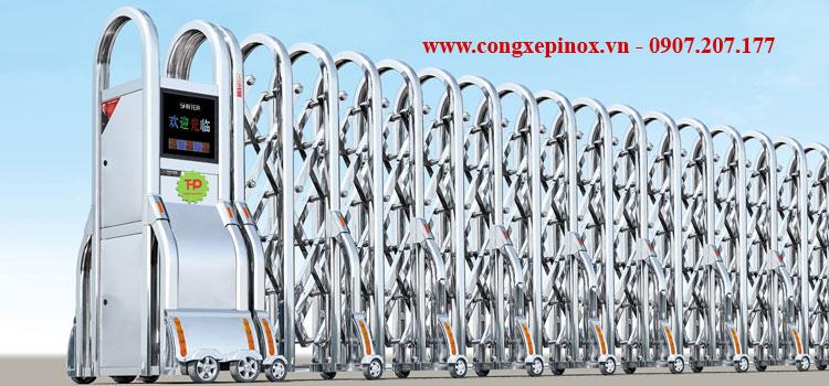 Cửa cổng xếp inox 201 THP-158
