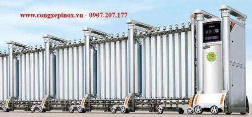 Cửa cổng xếp inox 304 chạy điện THP-091