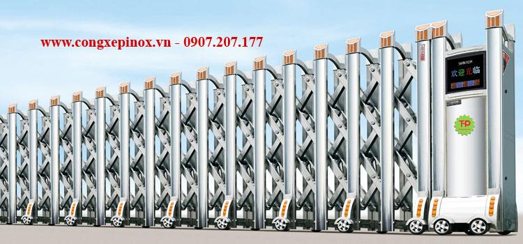 Cửa cổng xếp inox THP 030