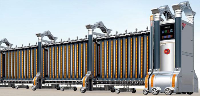 Cửa cổng xếp inox chạy điện THP-606