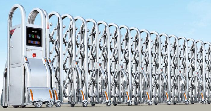 Cửa cổng xếp inox chạy điện THP-608