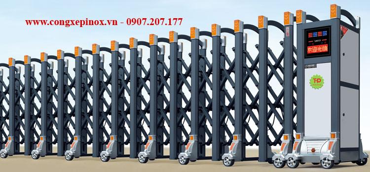 Cửa cổng xếp hợp kim nhôm THP-096