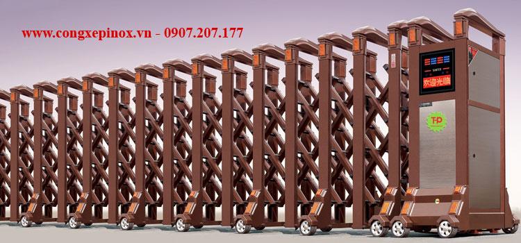 Cửa cổng xếp hợp kim nhôm THP-103