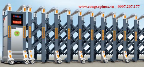 Cửa cổng xếp hợp kim nhôm THP-106