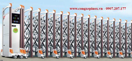 Cửa cổng xếp tự động inox 201 THP-156