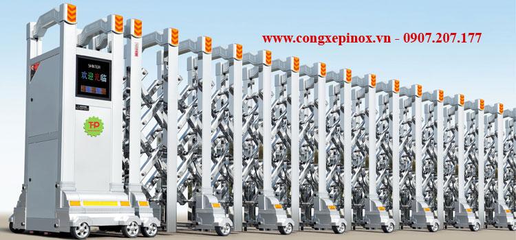 cửa cổng xếp inox 201 tự động THP-157