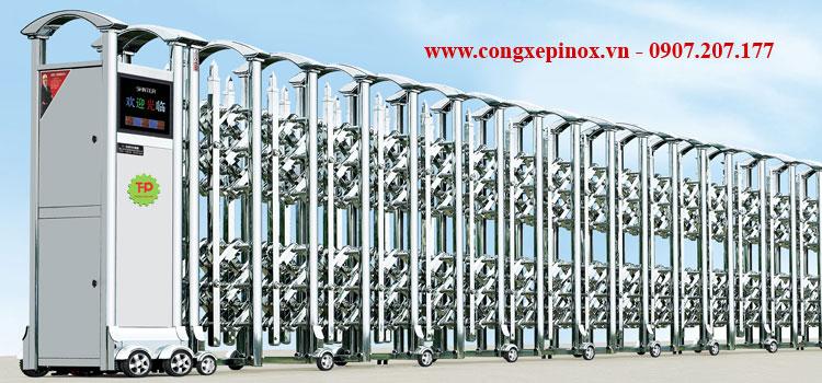 Cửa cổng xếp điện inox 201 THP-160