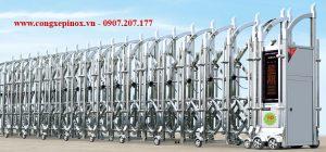cửa cổng xếp inox 201 đẹp THP-163