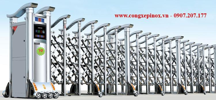 Cửa cổng xếp inox 304 chạy điện THP-083