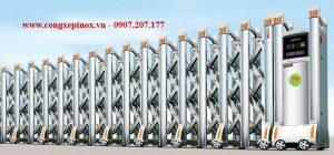 Cửa cổng xếp inox 304 chạy điện THP-085