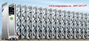 Cửa cổng xếp inox 304 THP-090