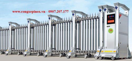 Cửa cổng xếp inox 304 chạy điện THP-092