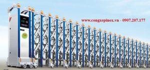 Cửa cổng xếp inox chạy điện 304 THP-161