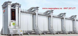 cửa cổng xếp inox 304 chạy điện THP-162