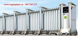 Cửa cổng xếp inox THP-073