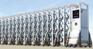 Cửa cổng xếp inox chạy điện THP-607