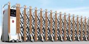 Cửa cổng xếp inox chạy điện THP-609